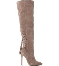 Steve Madden Norland Sm Suede Over The Knee Boot Taupe Suede