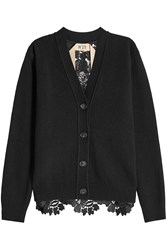 No.21 Fleece Wool Cardigan With Lace