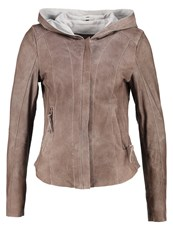 Freaky Nation Jumper Leather Jacket Dove Light Grey