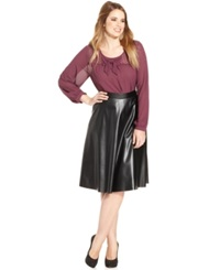Soprano Plus Size Faux Leather A Line Skirt Black