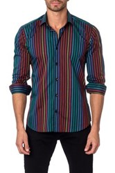 Jared Lang Long Sleeve Striped Semi Fitted Shirt Black