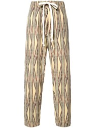 Uma Wang Striped Cropped Trousers Nude Neutrals