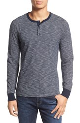 Men's 1901 Thin Stripe Henley Navy Iris Broken Feeder