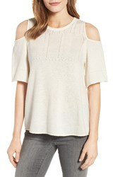 Velvet By Graham And Spencer Women's Cashmere Cold Shoulder Sweater Milk White