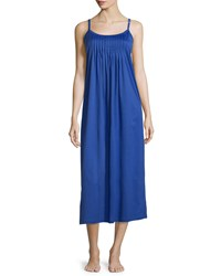 Hanro Juliet Pleated Jersey Chemise Size S Elctric Blue