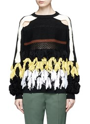 Toga Archives Fringe Cotton Blend Mixed Knit Sweater Multi Colour