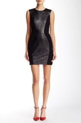 Rebecca Minkoff Logan Genuine Lambskin Leather Mini Dress Black