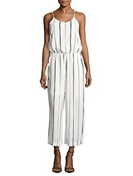 Collective Concepts Sleeveless Striped Long Jumpsuit White Multicolor