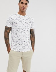 Selected Homme Floral Graphic Print T Shirt In White