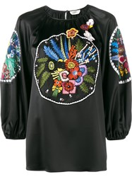 Fendi Floral Embroidered Blouse Black