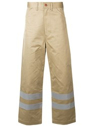 Junya Watanabe Man Stripe Detail Straight Trousers Nude And Neutrals