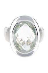 Olivia Leone Sterling Silver Green Amethyst Oval Ring
