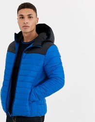 Threadbare Hooded Puffer Cut And Sew Jacket In Blue