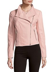 Felicia Zippered Leather Moto Jacket Light Pink