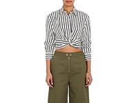 Alexander Wang T By Women's Striped Cotton Twisted Crop Top White Black