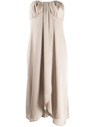 Federica Tosi Strapless Drape Detailed Dress Neutrals