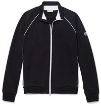 Moncler Loopback Stretch Cotton Jersey Track Jacket Blue