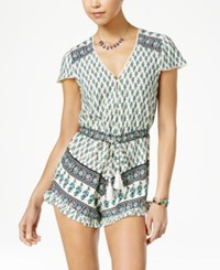 American Rag Printed Ruffled Romper Only At Macy's Egret Combo