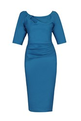 Jolie Moi 1 2 Sleeve Ruched Wiggle Dress Teal