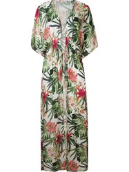 Amir Slama Floral Print Beach Dress Green