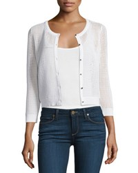 Milly 3 4 Sleeve Button Front Mesh Cardigan White