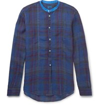 Massimo Alba Grandad Collar Madras Checked Washed Linen Shirt Blue
