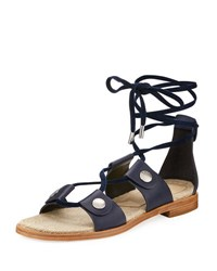 Rag And Bone Evelyn Lace Up Flat Leather Sandal Navy