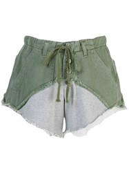 Greg Lauren Two Tone Shorts Green