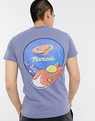 Fiorucci T Shirt In Grey With Spaceship Back Print