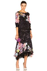 Preen By Thornton Bregazzi Abigail Lace Hem Dress In Black Floral Abstract Black Floral Abstract