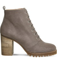 Office Loose Lipped Leather Ankle Boots Grey Nubuck