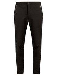 Alexander Mcqueen Contrast Patch Straight Leg Cotton Blend Trousers Black