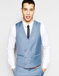Asos Skinny Double Breasted Waistcoat In Blue Blue