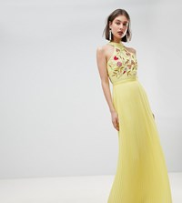 Frock And Frill Embroidered Top Pleated Maxi Dress Yellow
