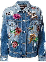Marco Bologna Embellished Patchwork Denim Jacket Blue
