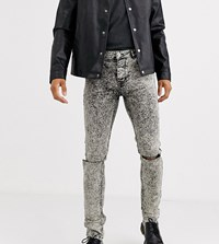 Heart And Dagger Super Skinny Jeans In Grey Acid Wash With Rips