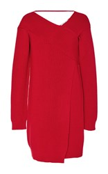 Msgm Off The Shoulder Sweater Dress Red