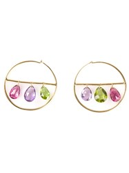 Marie Helene De Taillac 22Kt Gold Drop Gemstone Hoop Earrings Metallic