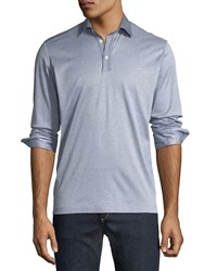 Culturata Premium Italian Long Sleeve Polo Shirt Blue