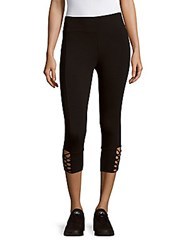 Andrew Marc New York Two Tone Knit Ankle Leggings Charcoal