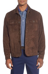 Peter Millar 'Roma' Suede Shirt Jacket Chocolate