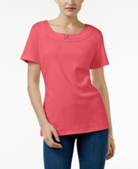 Karen Scott Buckle Trim T Shirt Only At Macy's Peony Coral