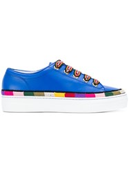 Etro Stripe Detail Lace Up Sneakers Blue