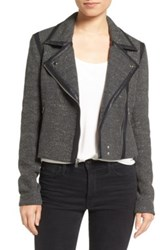 Paige Telma Moto Jacket With Faux Leather Trim Black