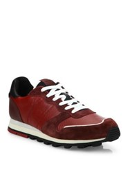 Coach Colorblock Suede And Leather Blend Sneakers Cardinal