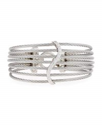 Alor Open Cage Cuff Bracelet W Diamonds Gray