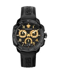 Versace Dylos Stainless Steel Leather Strap Chronograph Watch Black