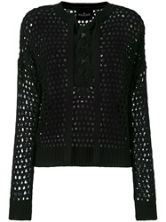 Designers Remix Lace Up Open Knit Blouse Women Cotton Xs Black