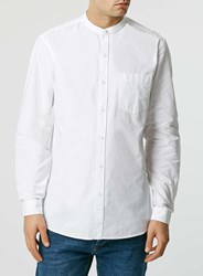 Topman White Oxford Long Sleeve Stand Collar Shirt