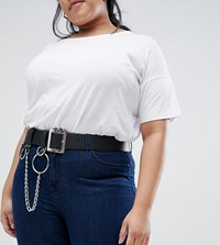 Asos Design Curve Chain And Ring Detail Waist And Hip Belt Black